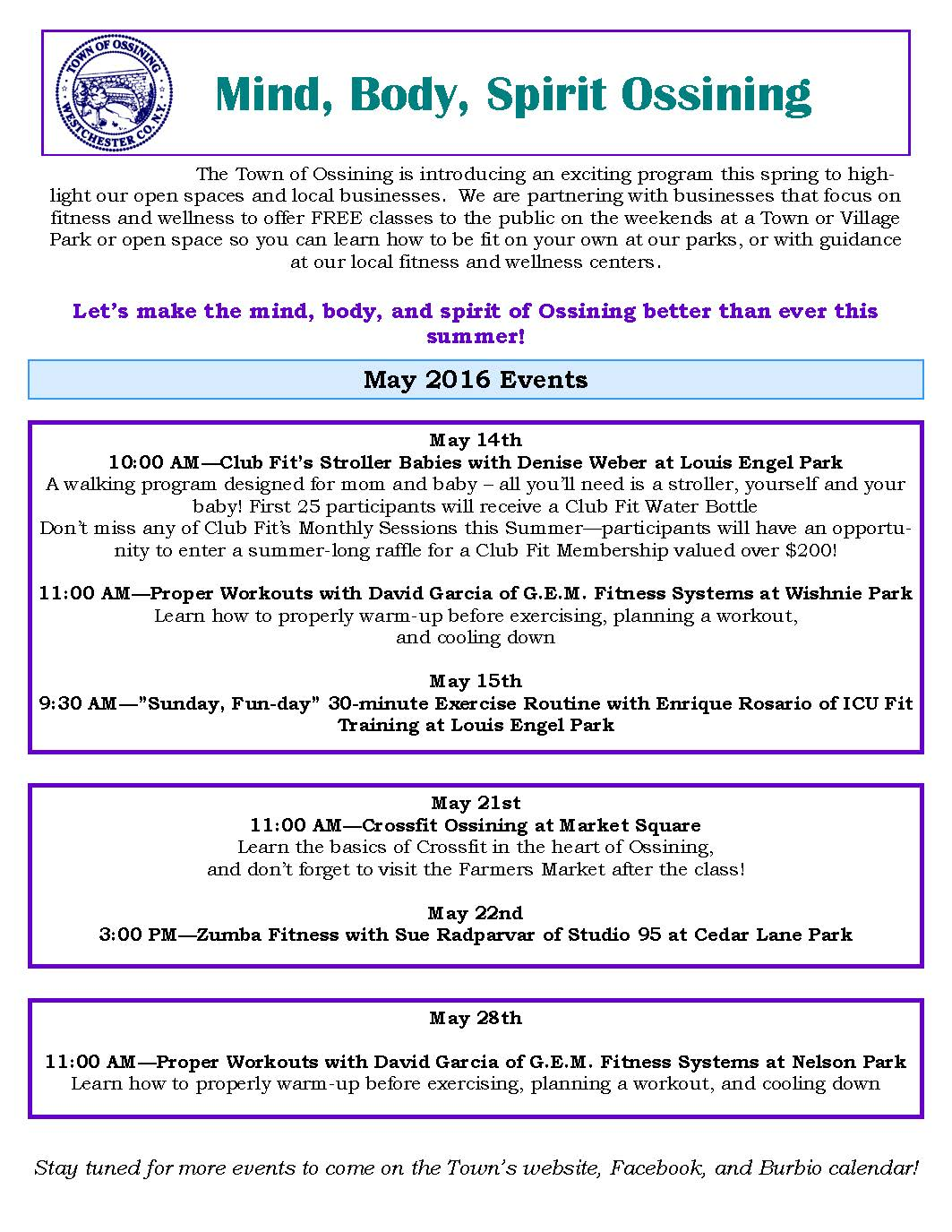 Mind Body Spirit Ossining May Flyer