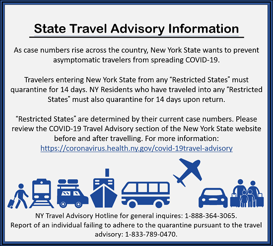 NY Travel Advisory Info