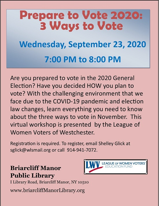 Briarcliff Library LOWV voting info