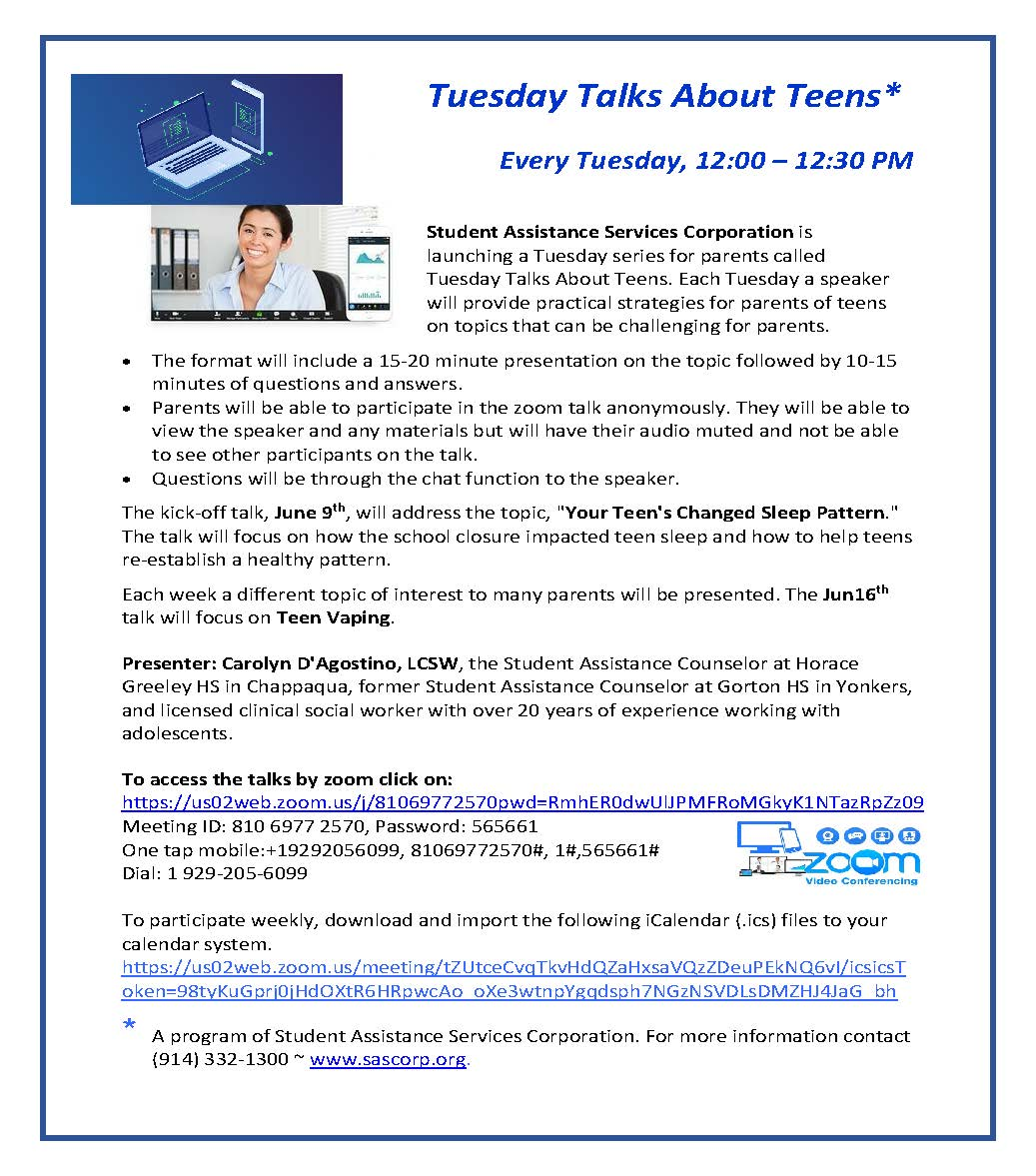 Tuesday Talks about Teens