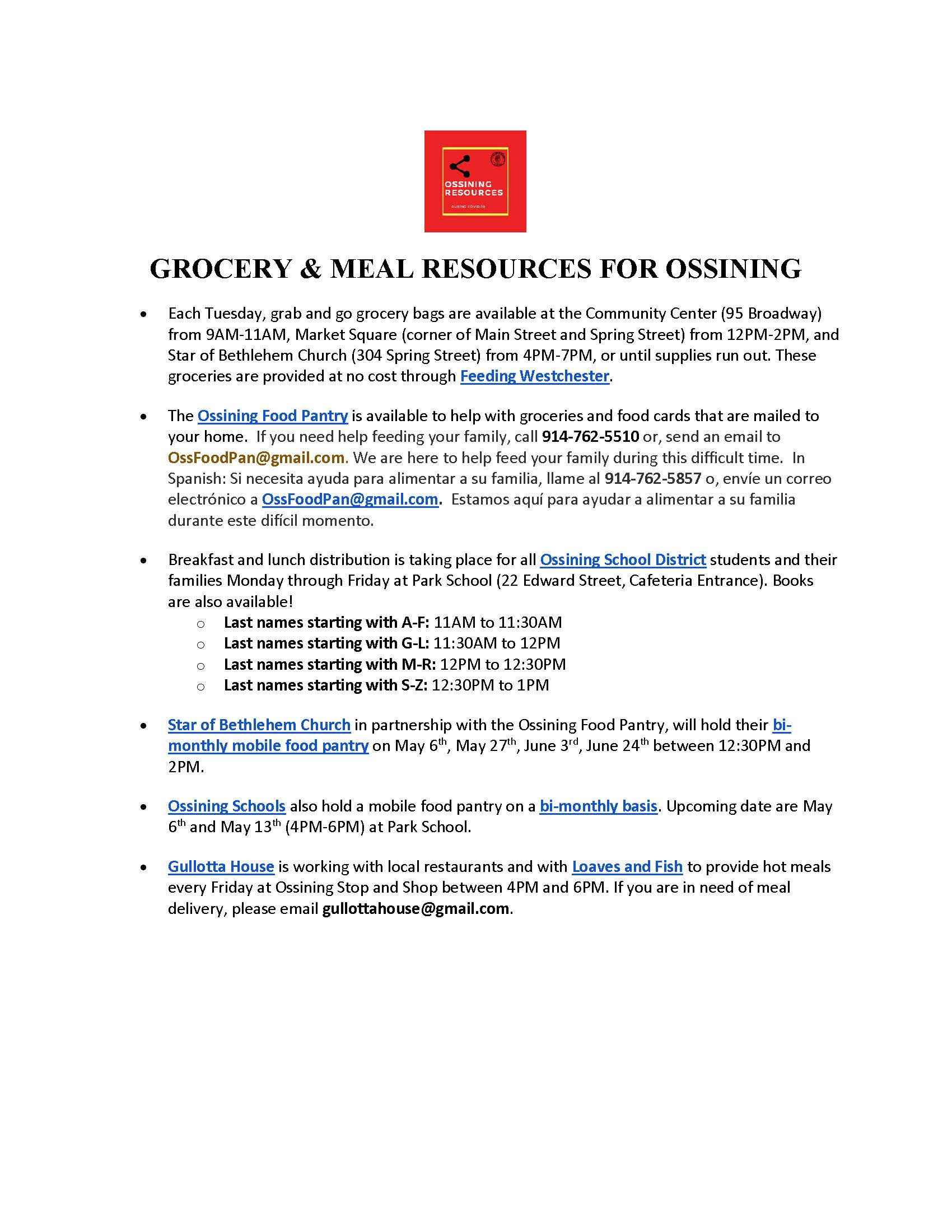 Grocery Hot Meal Resources in Ossining